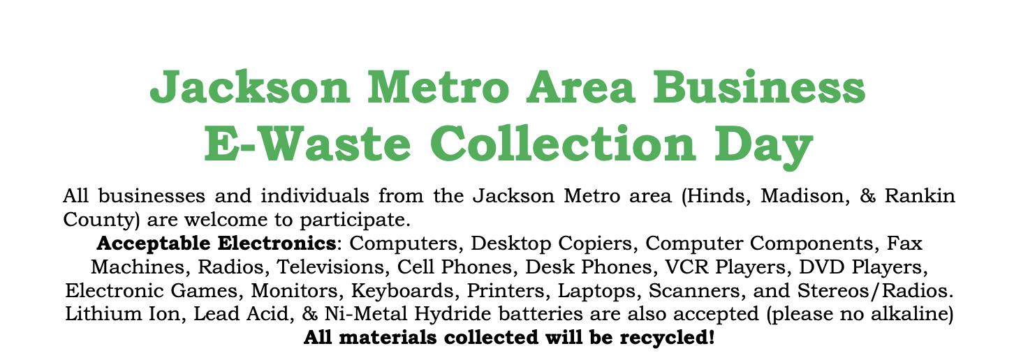 Jackson Metro Area Business E-Waste Collection Day