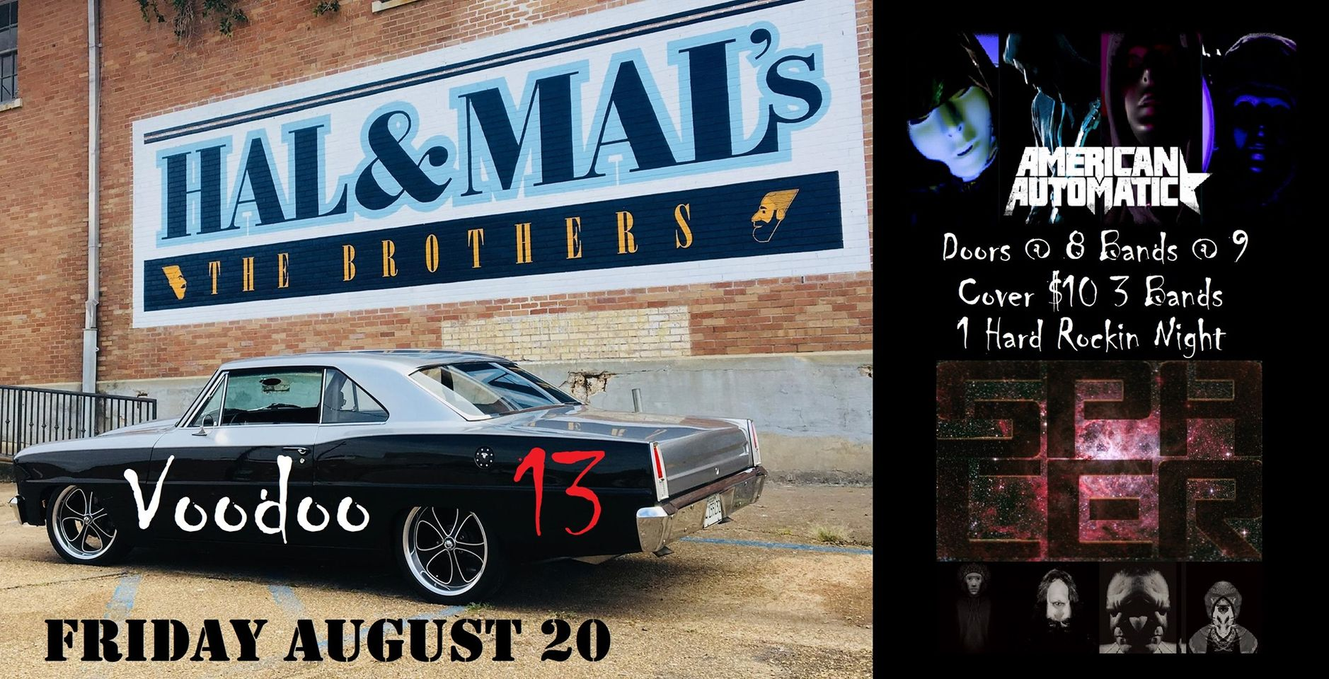 Hard Rock Night at Hal & Mals | Voodoo13 w/American Automatic + Spacer